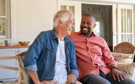 Happy men in a conversation